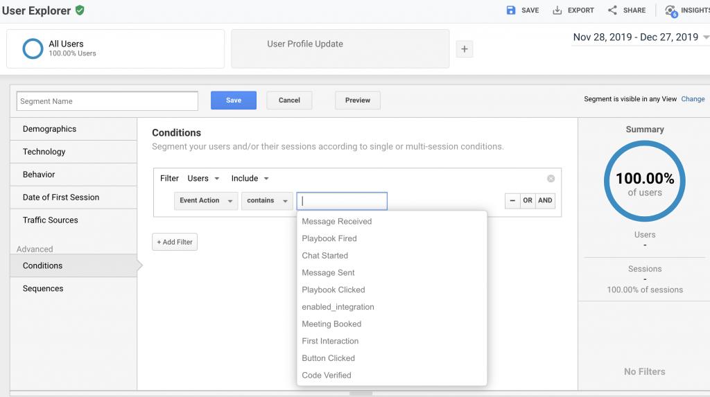 Google Analytics creates segments